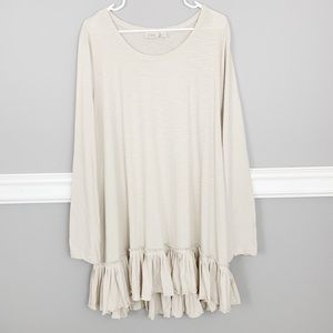 LOGO by Lori Goldstein Ruffle Hem Tunic Top